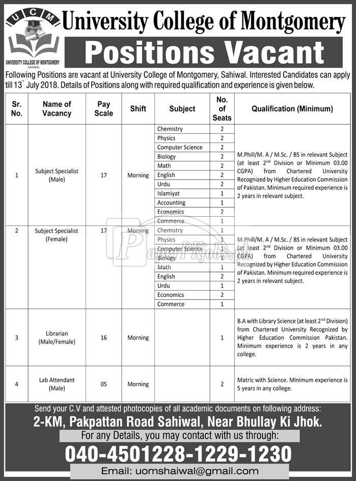 University College of Montgomery Sahiwal Jobs 2018