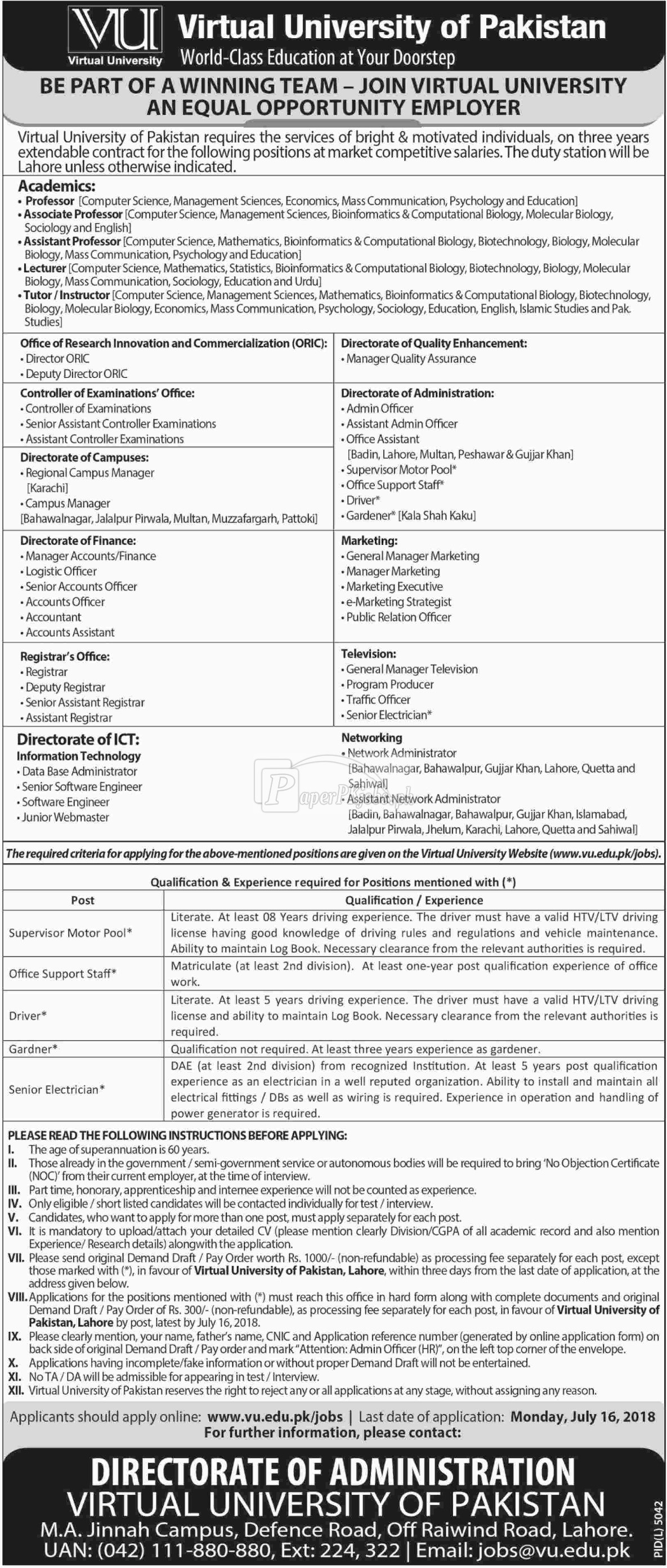 Virtual University of Pakistan VU Jobs 2018