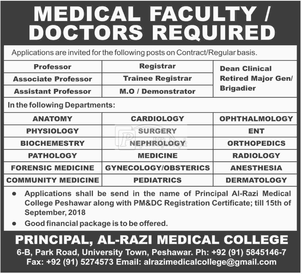 Al-Razi Medical College Peshawar Jobs 2018