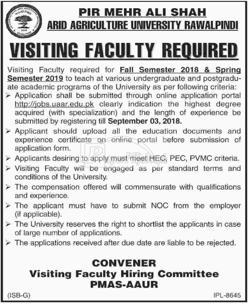 Arid Agriculture University Rawalpindi Jobs 2018