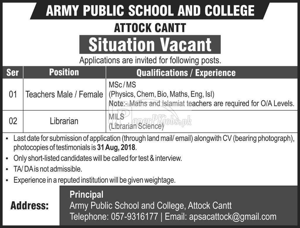 Army Public School & College Attock Cantt Jobs 2018