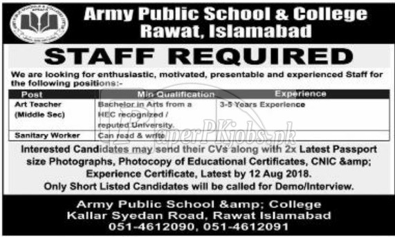 Army Public School & College Rawat Rawalpindi Jobs 2018
