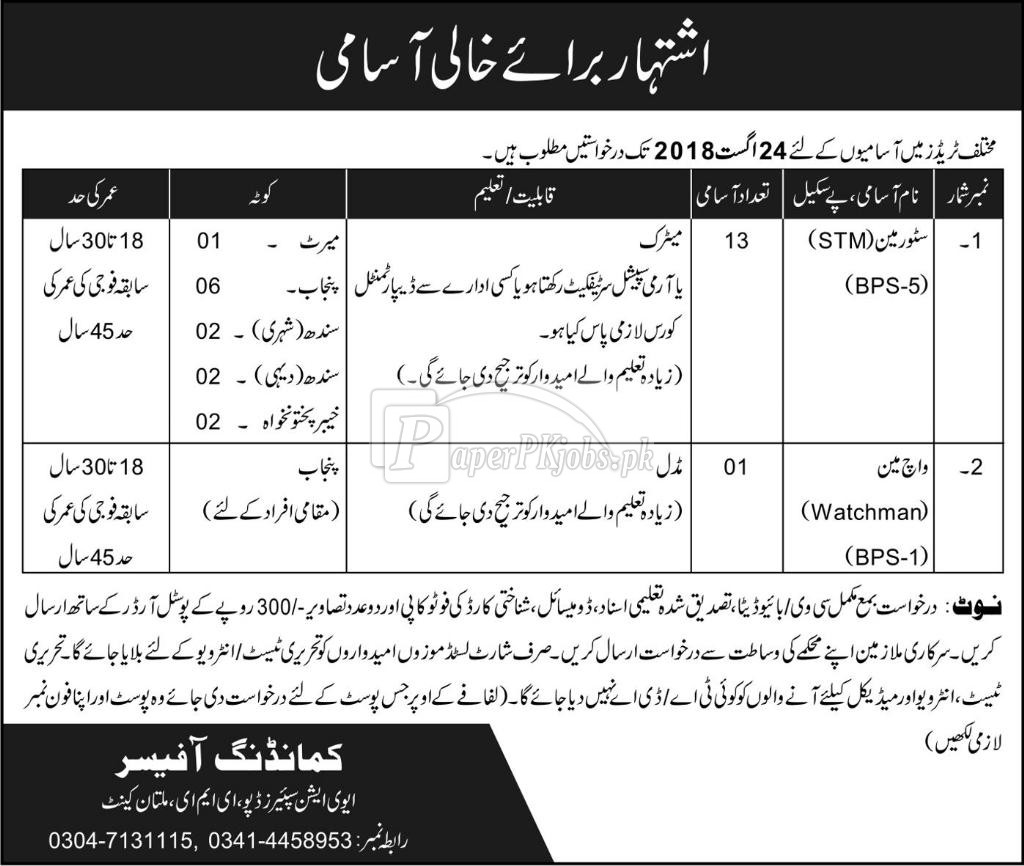 Aviation Spares Depot EME Multan Cantt Jobs 2018
