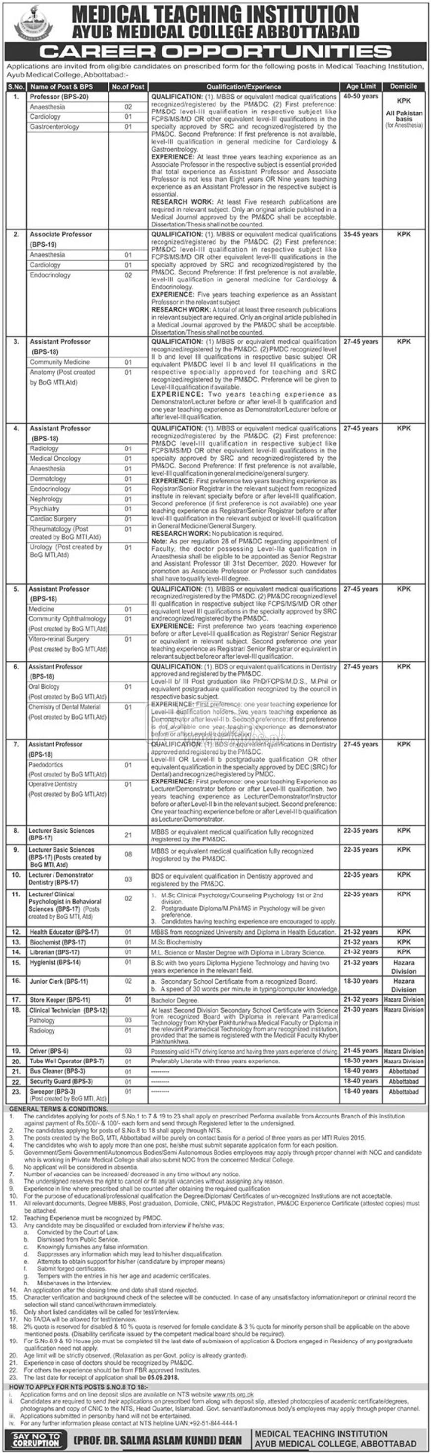 Ayub Medical College Abbottabad Jobs 2018