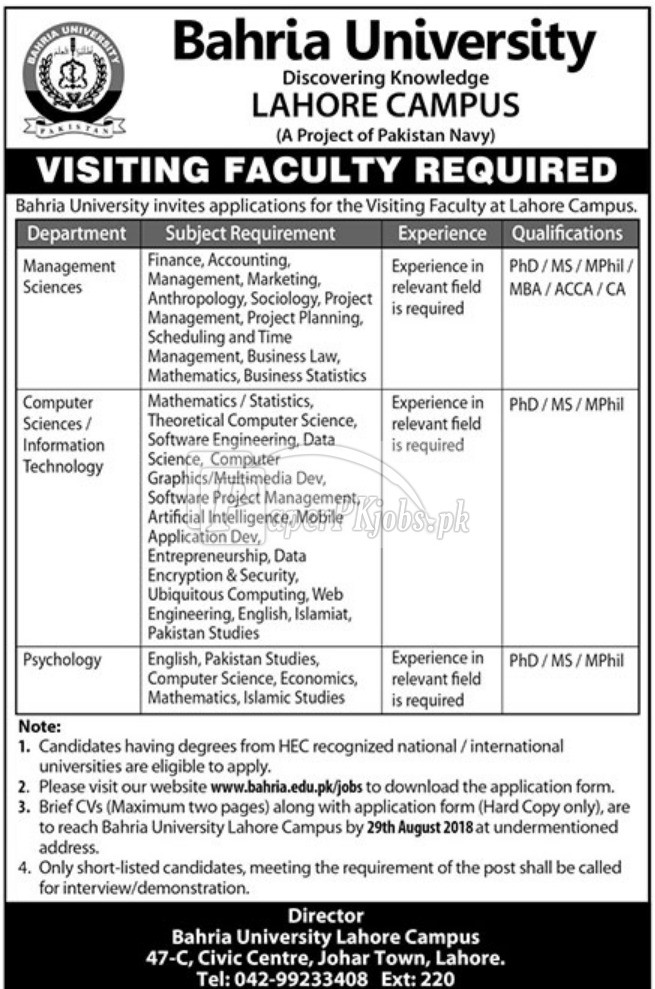 Bahria University Lahore Jobs 2018