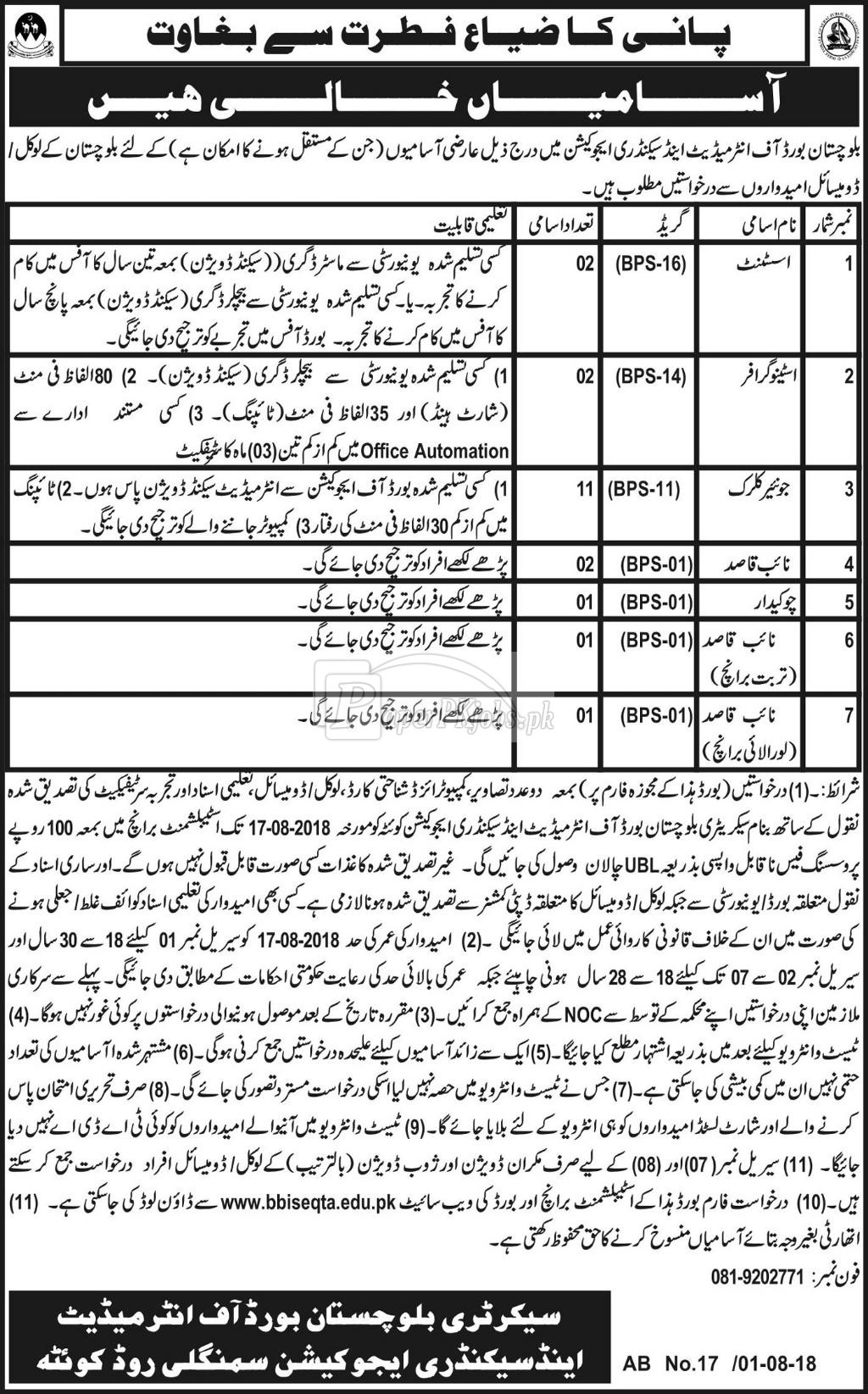 Balochistan Board of Intermediate & Secondary Education Quetta Jobs 2018