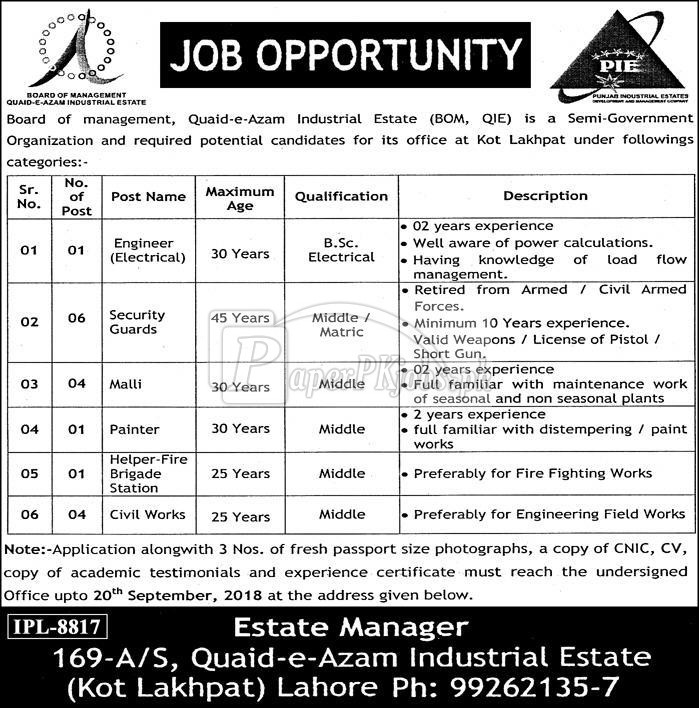 Board of Management Quaid-e-Azam Industrial Estate Kot Lakhpat Lahore Jobs 2018