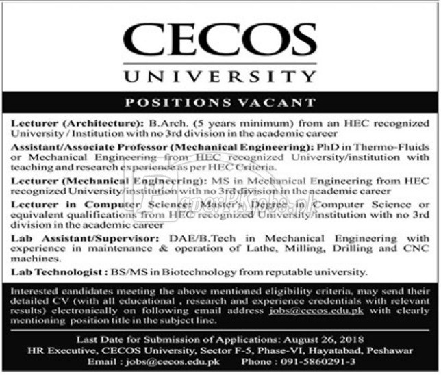 Cecos University Peshawar Jobs 2018