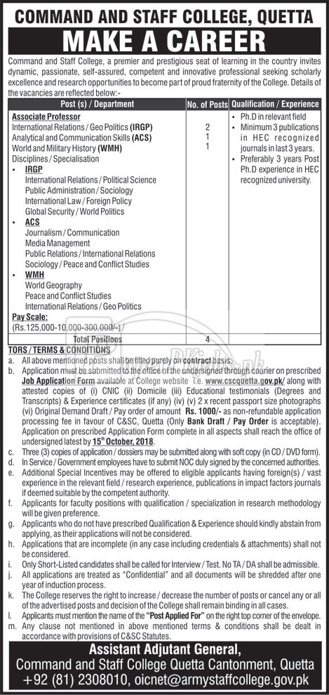 Command & Staff College Quetta Jobs 2018