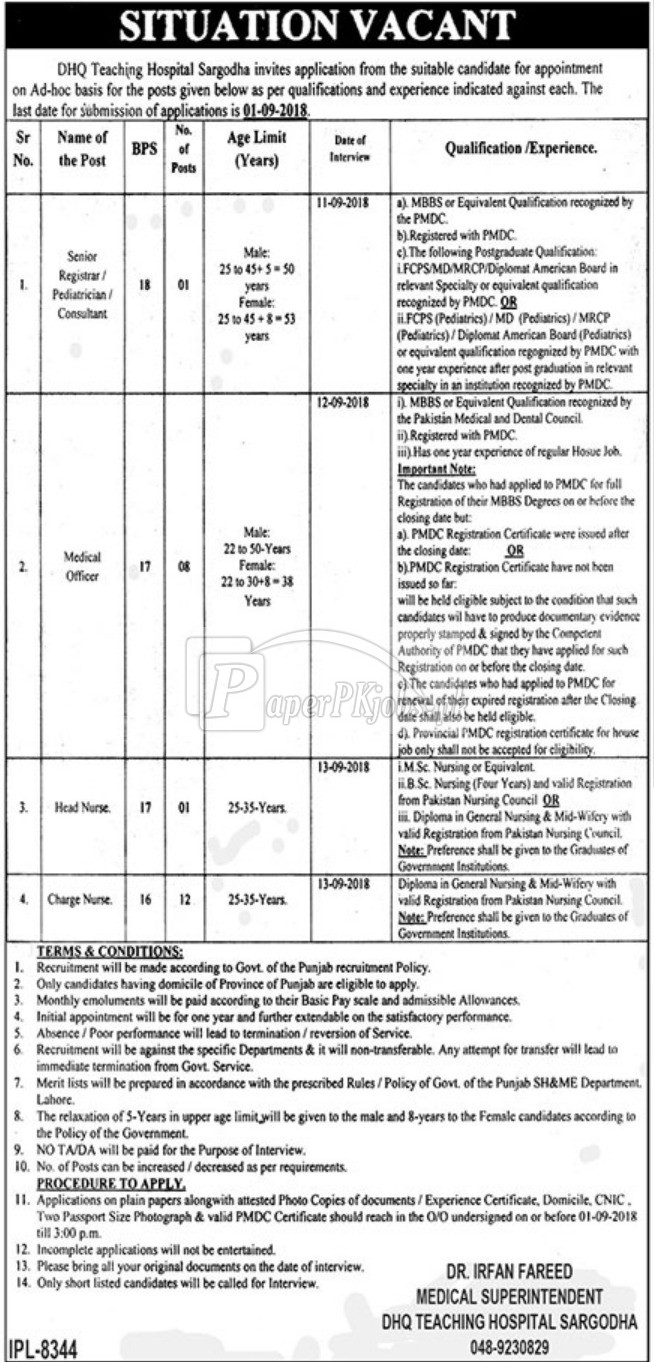 DHQ Teaching Hospital Sargodha Jobs 2018