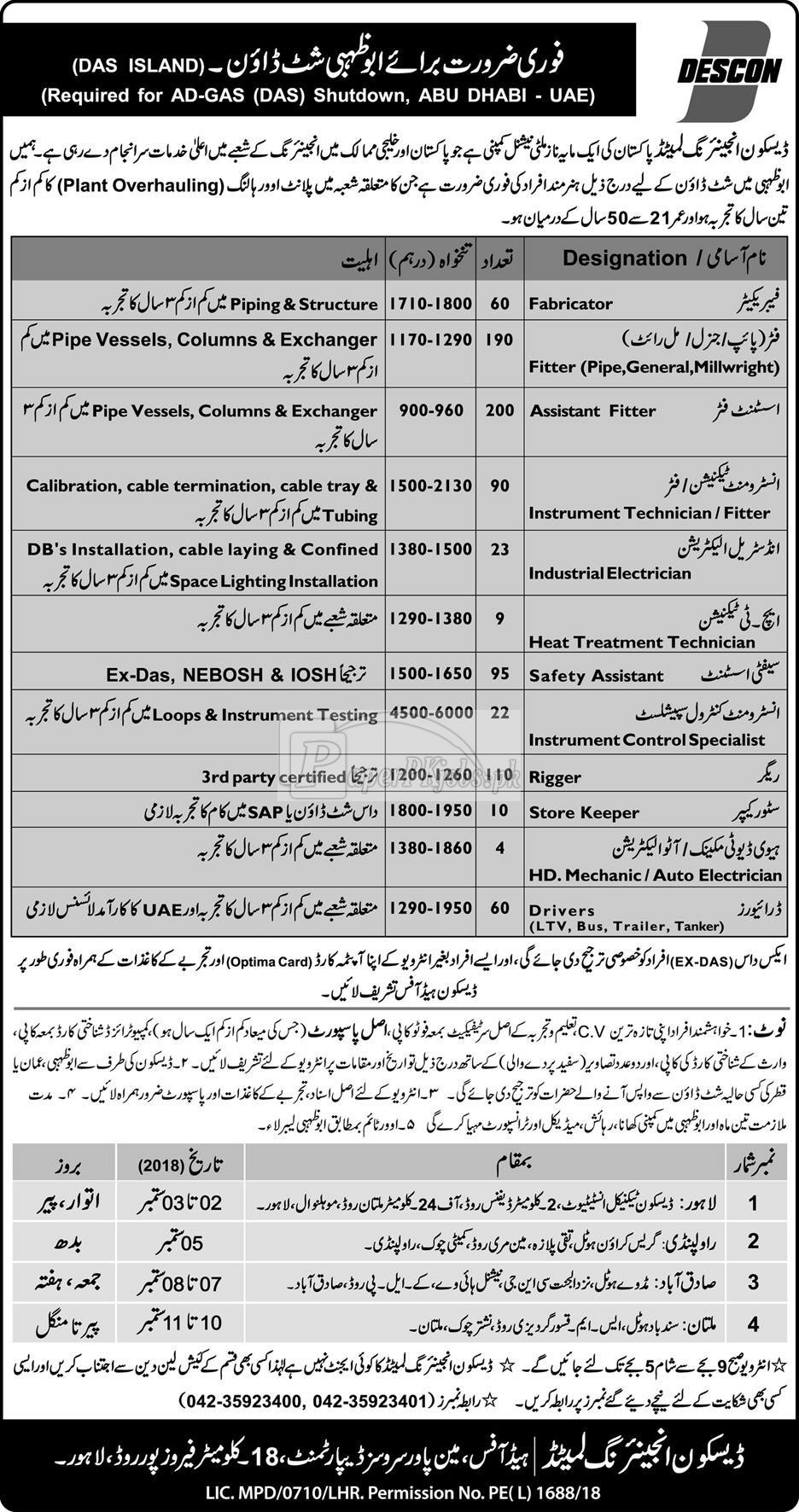 Descon Engineering Ltd. Jobs 2018