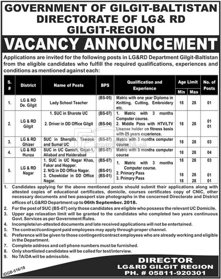 Directorate of LG&RD Gilgit Baltistan Jobs 2018