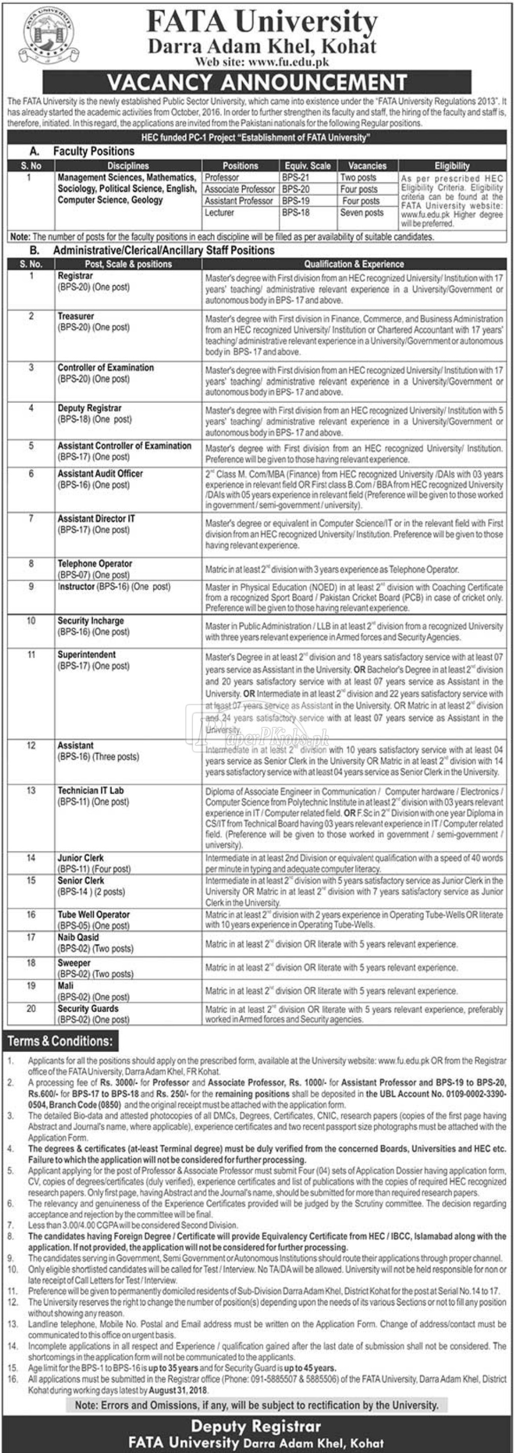FATA University Darra Adam Khel Kohat Jobs 2018