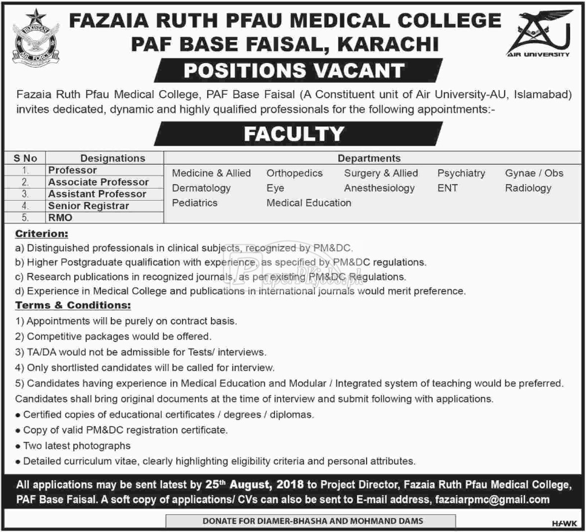 Fazaia Ruth Pfau Medical College PAF Base Faisal Karachi Jobs 2018