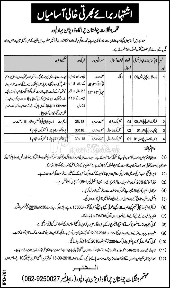 Forest Department Bahawalpur Jobs 2018