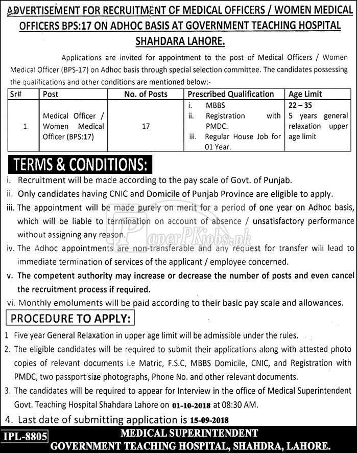 Government Teaching Hospital Shahdara Lahore Jobs 2018