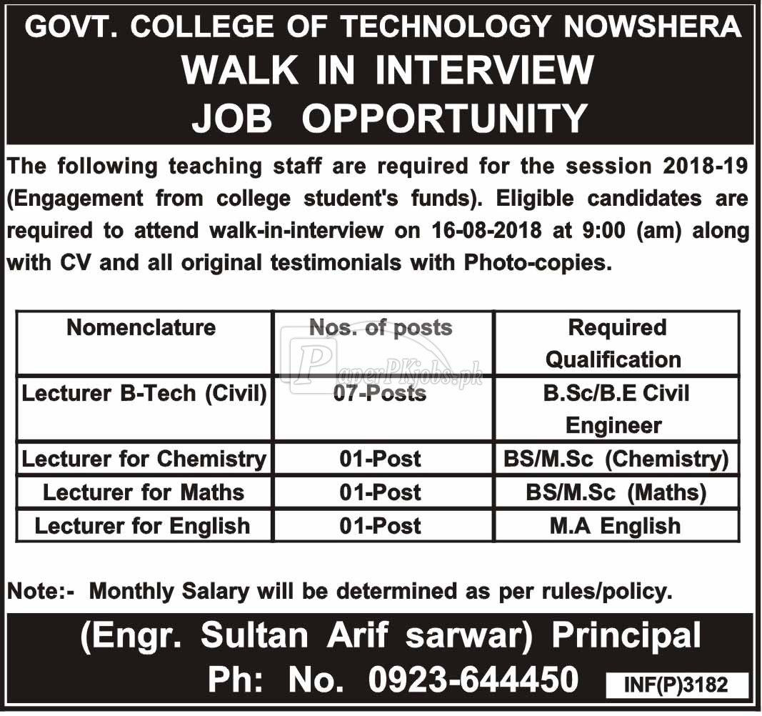 Govt College of Technology Nowshera Jobs 2018