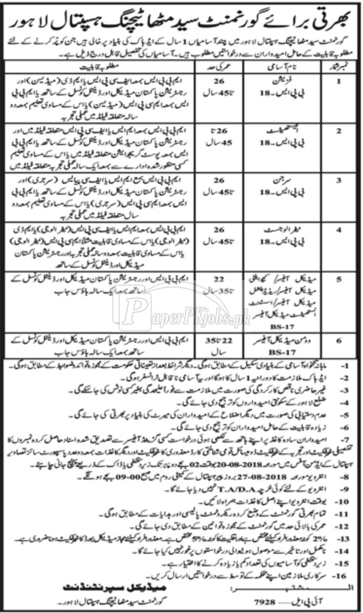Govt Syed Mitha Teaching Hospital Lahore Jobs 2018