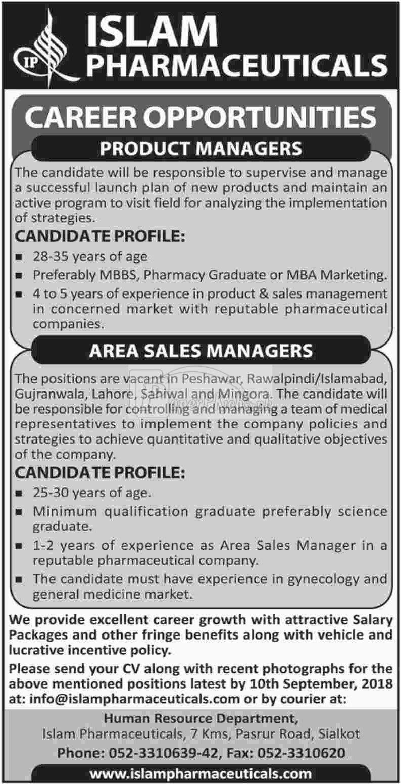 Islam Pharmaceuticals Jobs 2018