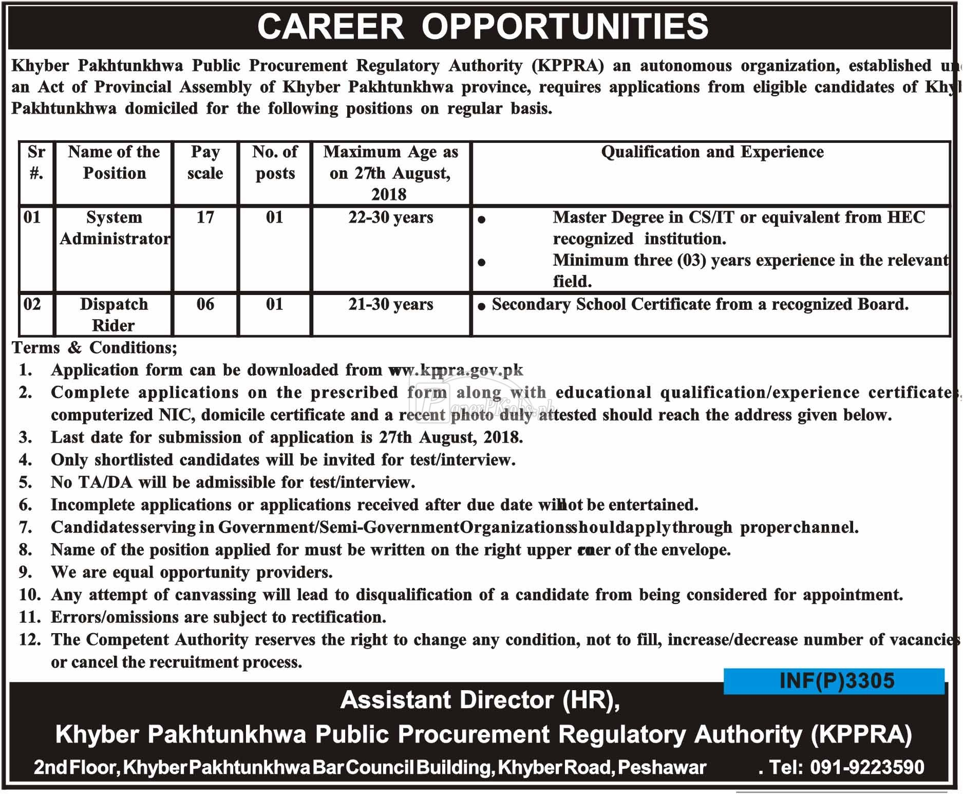 Khyber Pakhtunkhwa Public Procurement Regulatory Authority KPPRA Jobs 2018
