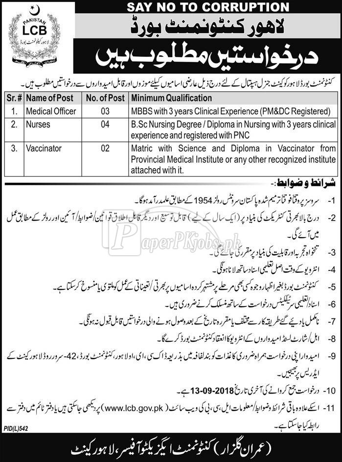 Lahore Cantonment Board LCB Jobs 2018