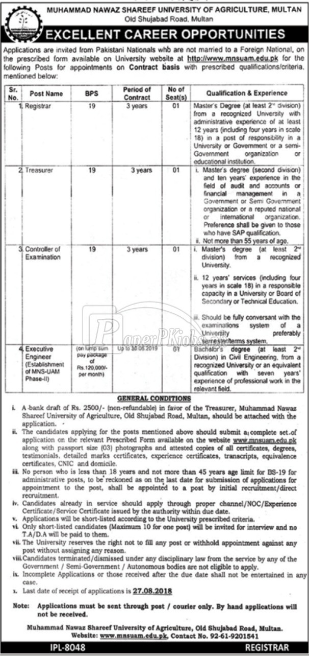 Muhammad Nawaz Shareef University of Agriculture Multan Jobs 2018