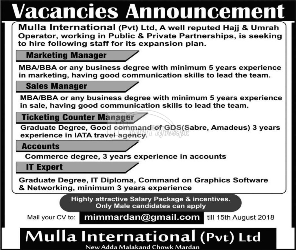 Mulla International Pvt Ltd Jobs 2018