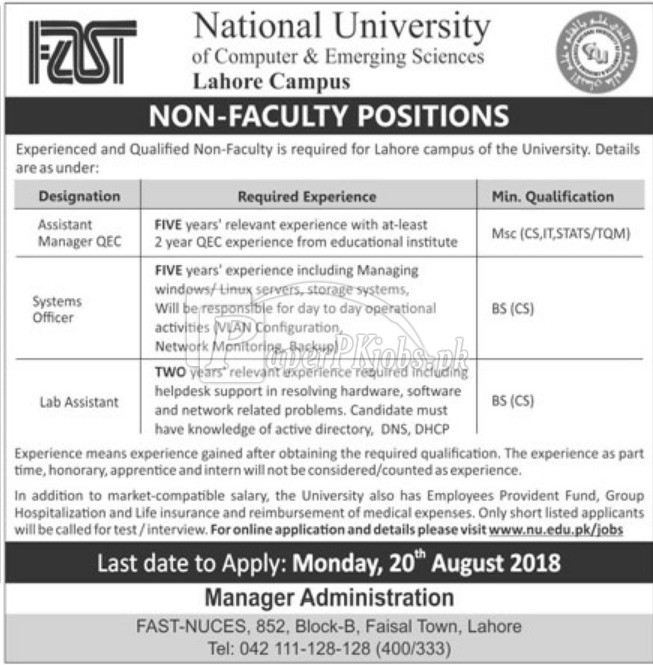 National University Lahore Jobs 2018