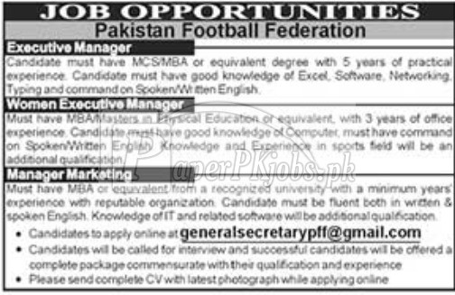 Pakistan Football Federation Jobs 2018