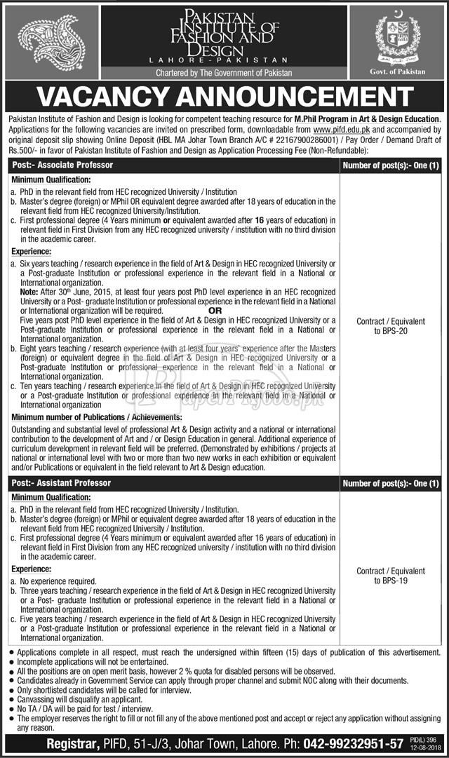 Pakistan Institute of Fashion & Design PIFD Jobs 2018
