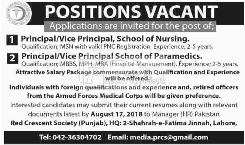 Pakistan Red Crescent Society PRCS Punjab Jobs 2018