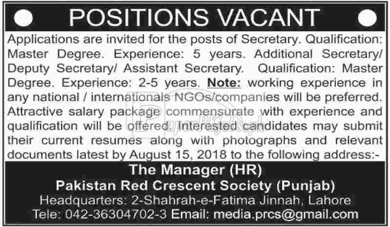 Pakistan Red Crescent Society PRCS Punjab Jobs 2018(1)