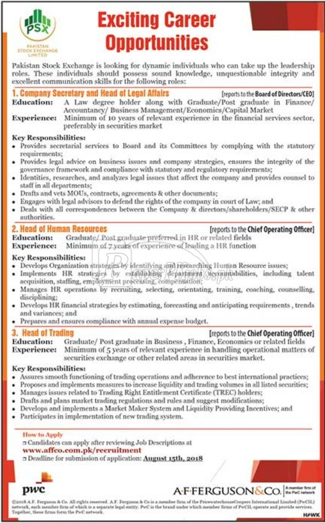 Pakistan Stock Exchange Jobs 2018
