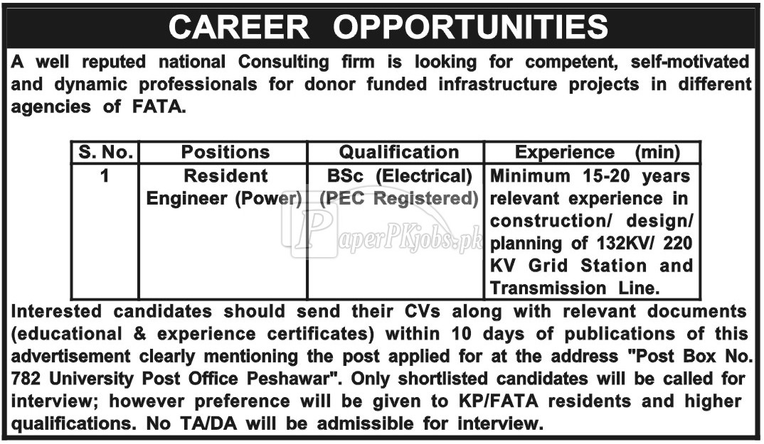 Public Sector Organization P.O.Box 782 Peshawar Jobs 2018
