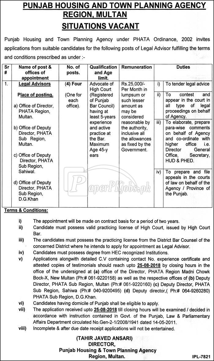 Punjab Housing & Town Planning Agency Jobs 2018
