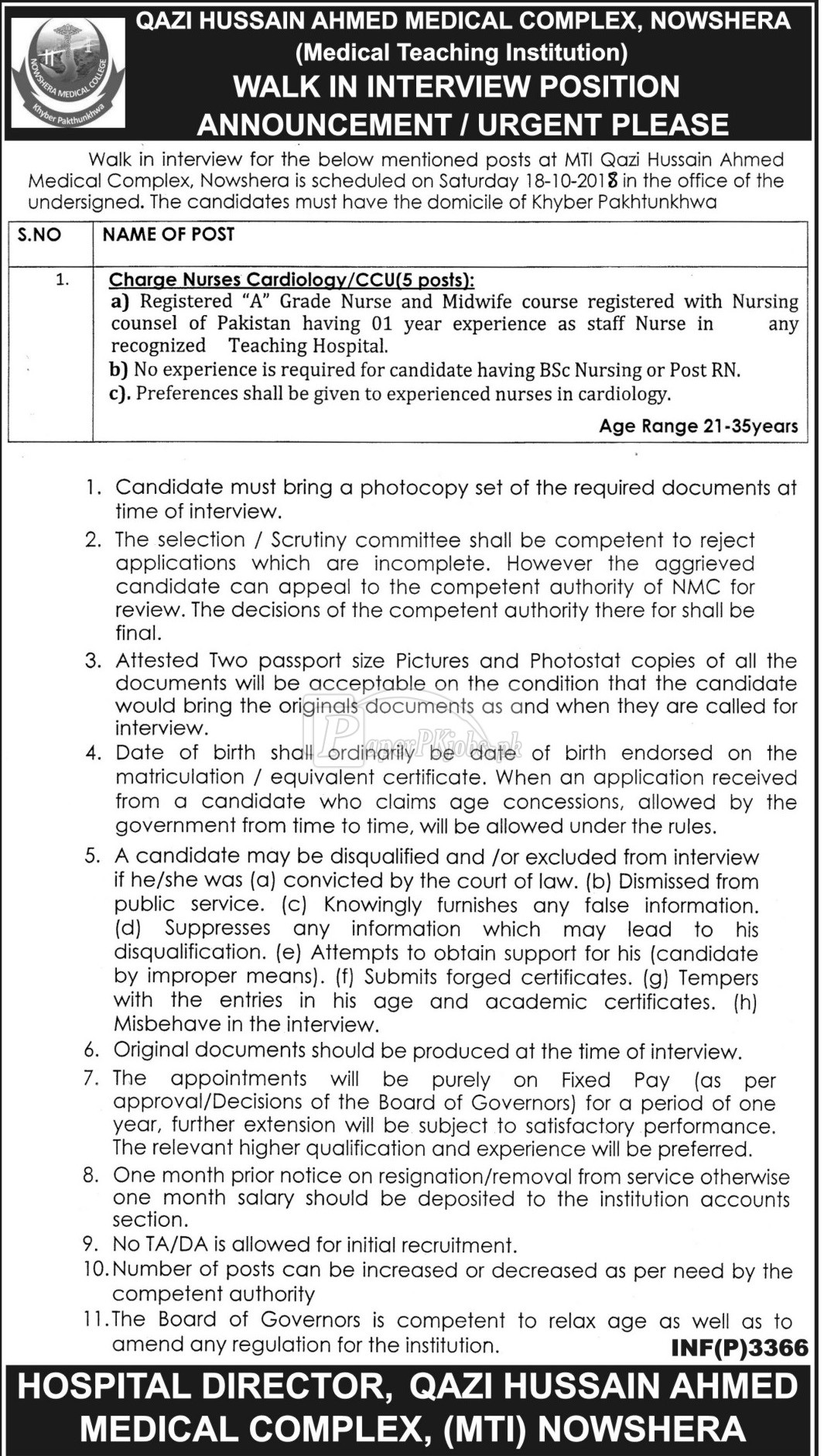 Qazi Hussain Ahmed Medical Complex Nowshera Jobs 2018