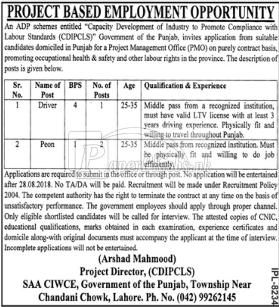 SAA CIWCE Government of Punjab Lahore Jobs 2018
