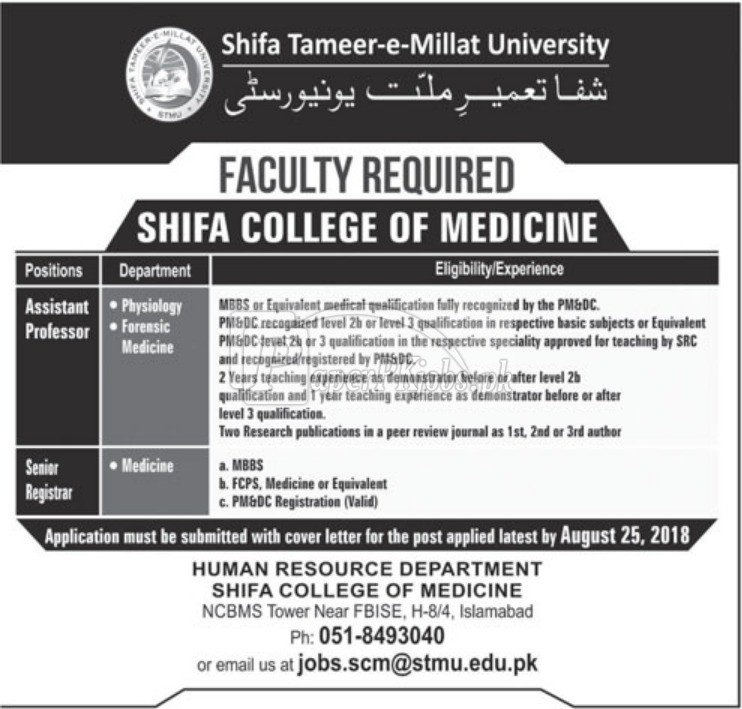 Shifa College of Medicine Jobs 2018
