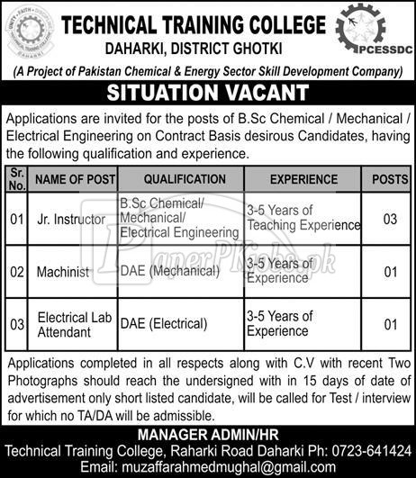 Technical Training College Ghotki Jobs 2018