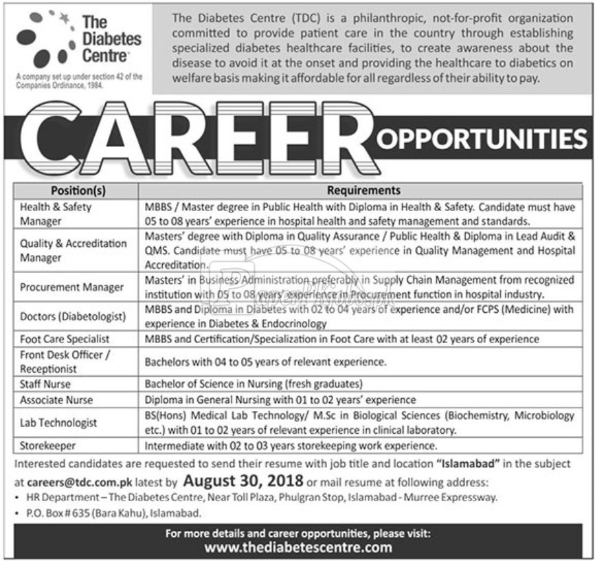 The Diabetes Centre Jobs 2018