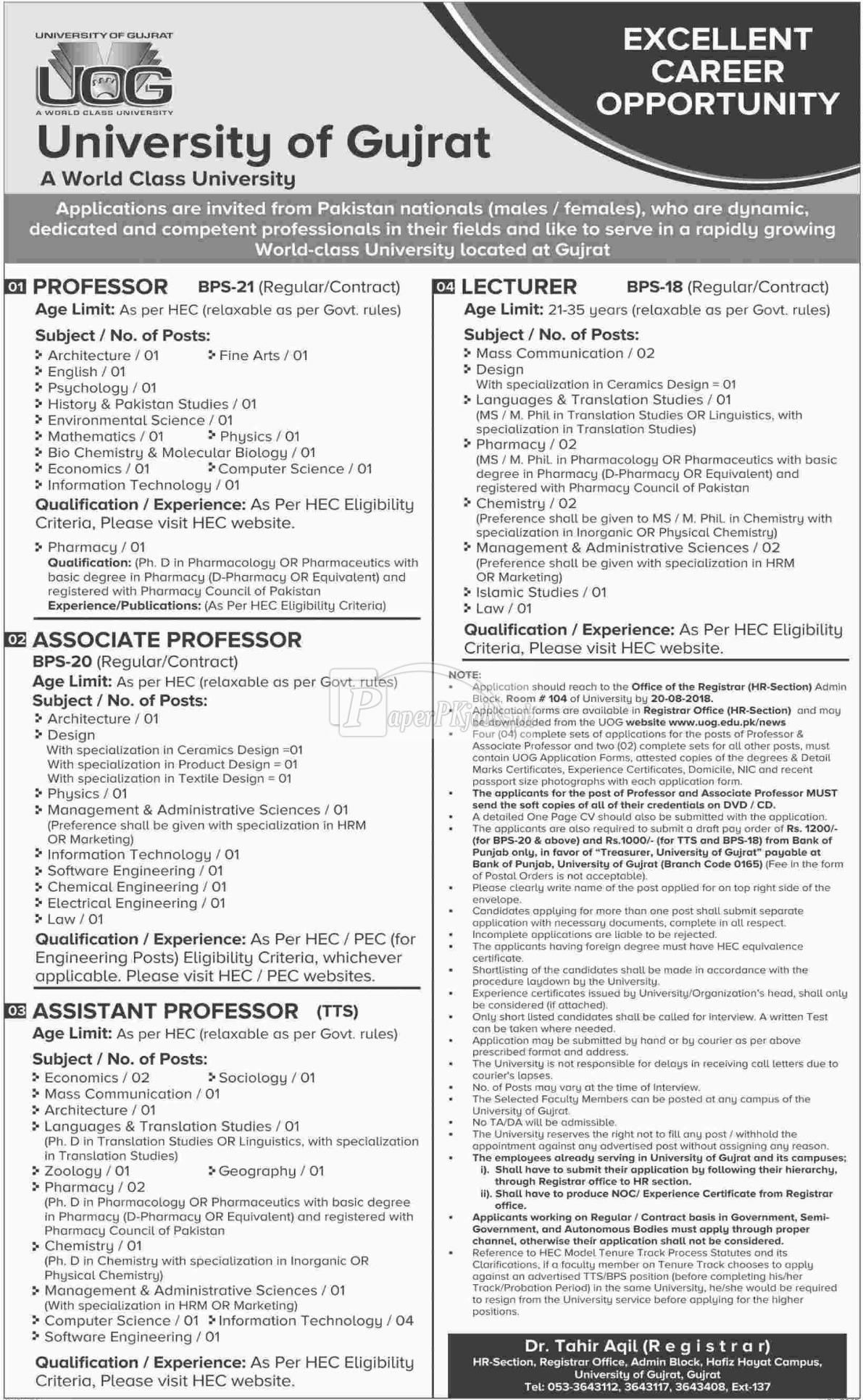 University of Gujrat Jobs 2018