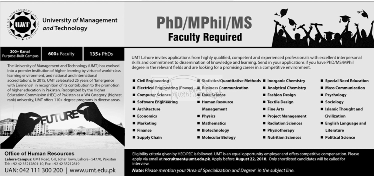 University of Management & Technology UMT Jobs 2018