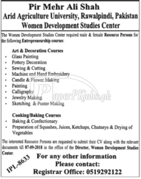 Women Development Studies Center Arid Agriculture University Rawalpindi Jobs 2018