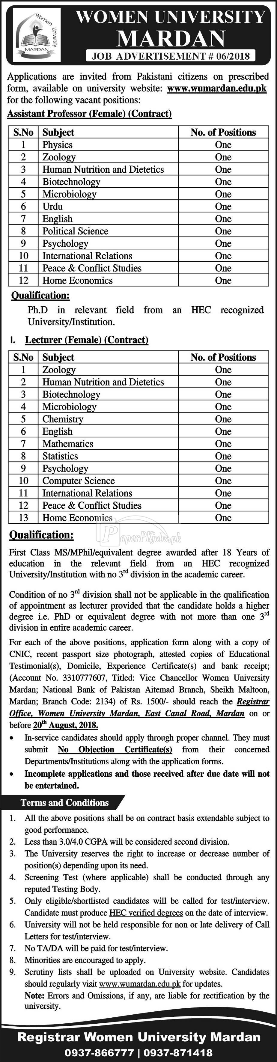 Women University Mardan Jobs 2018