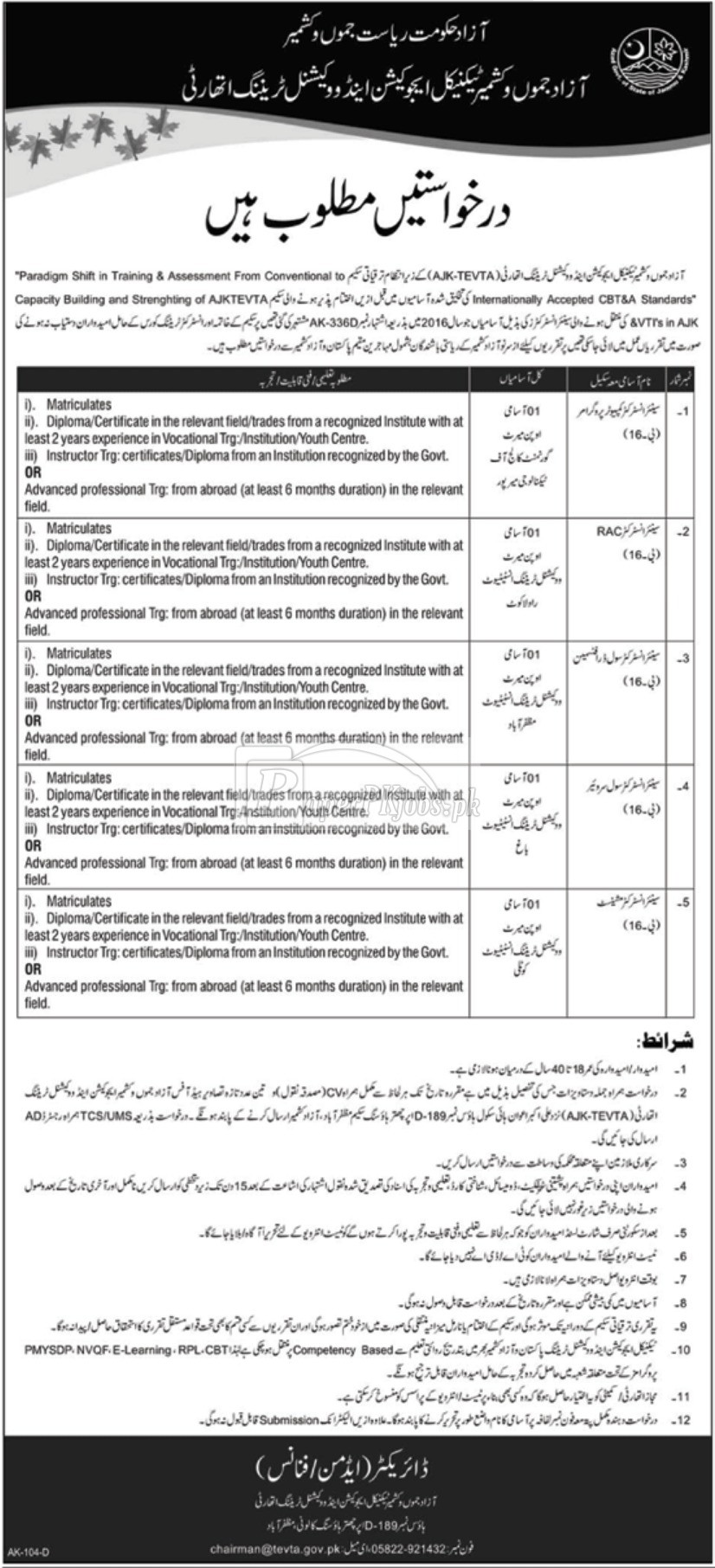 AJK TEVTA Technical Education & Vocational Training Authority Jobs 2018