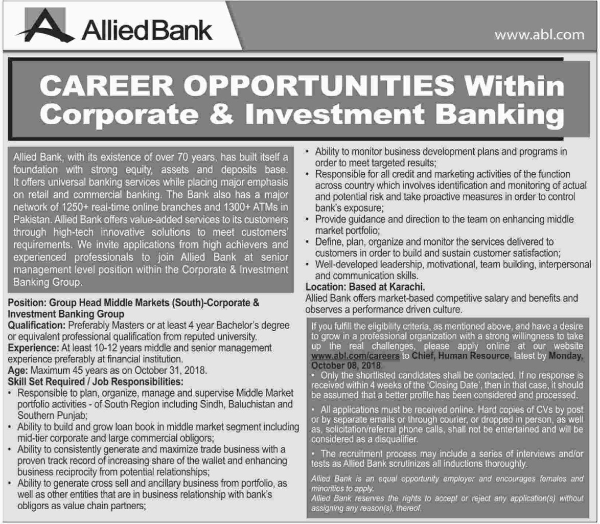 Allied Bank Ltd ABL Pakistan Jobs 30 September 2018