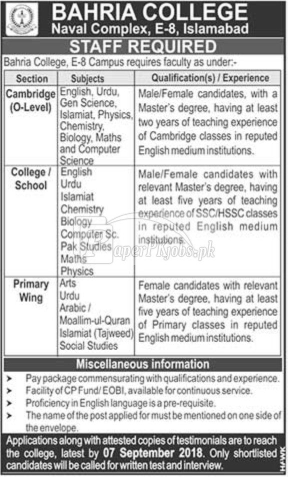 Bahria College Naval Complex Islamabad Jobs 2018