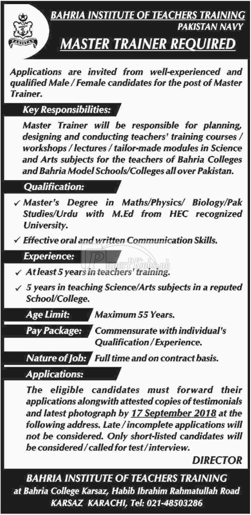 Bahria Institute of Teachers Training Pakistan Navy Jobs 2018