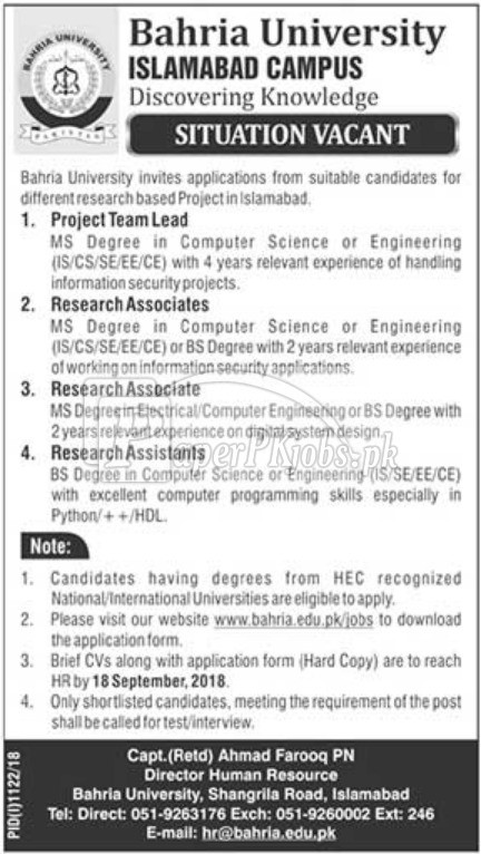 Bahria University Islamabad Jobs 2018