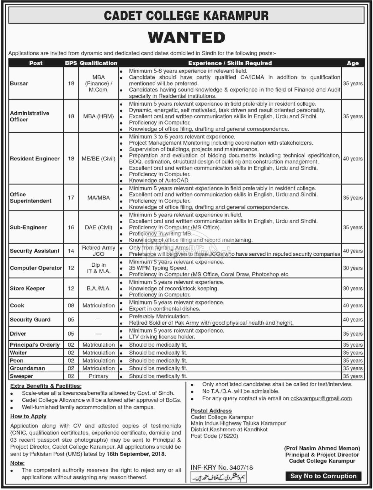 Cadet College Karampur Jobs 2018